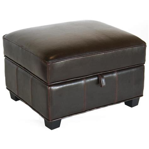 Wholesale Interiors Bicast Leather Storage Ottoman Black A Leather Ottomans With Storage