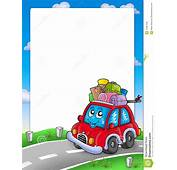 Frame With Cute Car And Baggage Stock Illustration