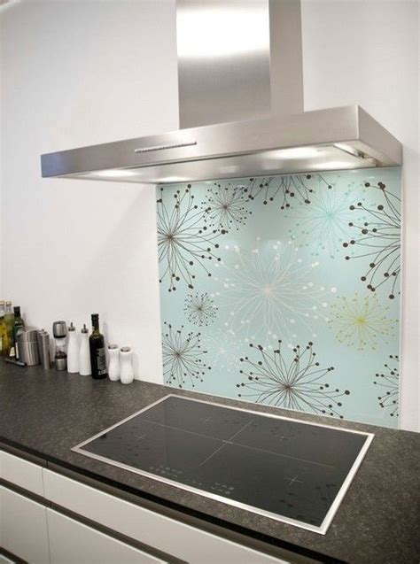 dandelion pattern printed glass splashback