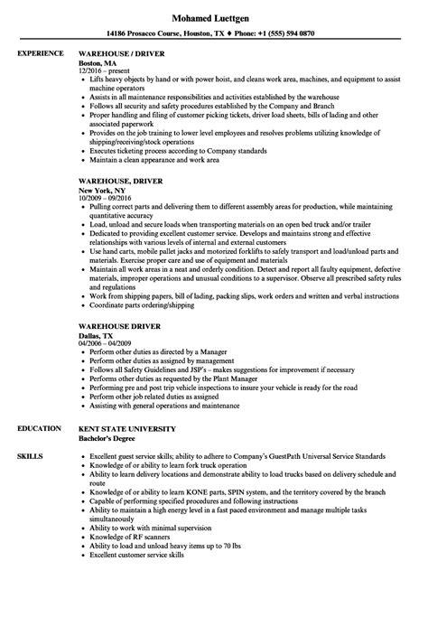 resume templates warehouseiver exles brilliant ideas of