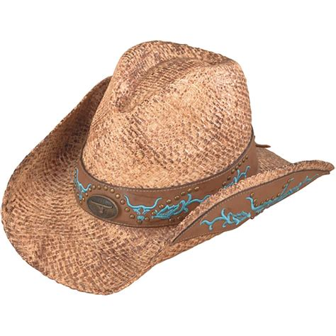 stained raffia with embroidery western cowboy hat by