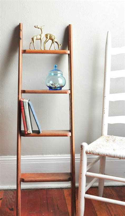 vintage rustic small ladder multipurpose book shelf knick