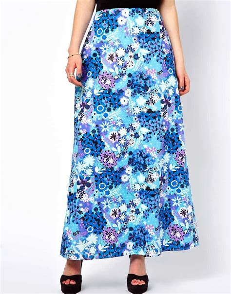 lowie lowie 70s print maxi skirt with velvet waistband