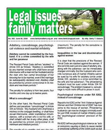 legal updates   legal information family code