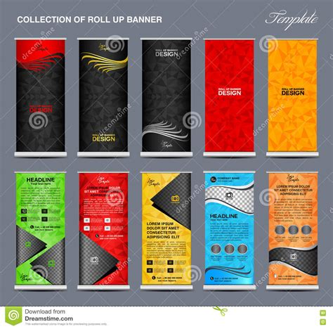 Collection Of Colorful Roll Up Banner Design Stand Template Stock Vector Illustration Of Pull Up Banner Design Template