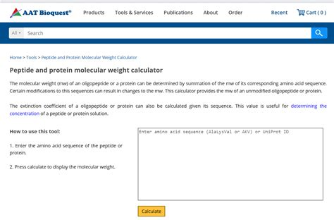 protein molecular weight calculator aat bioquest the provider of novel biological detection