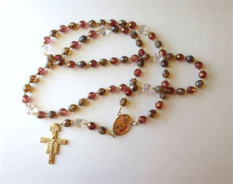 franciscan rosary franciscan crown rosary in earthtone glass with francis