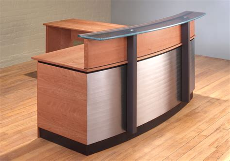 steel l shaped desk stainless steel l shaped reception desk manitoba design