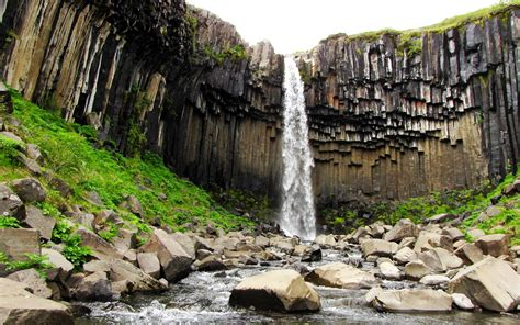 waterfall island svartifoss waterfall island hd desktop wallpapers 4k hd