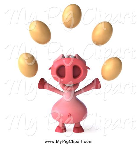 juggler 3d pattern swine clipart of a 3d pig juggling eggs by julos 1093