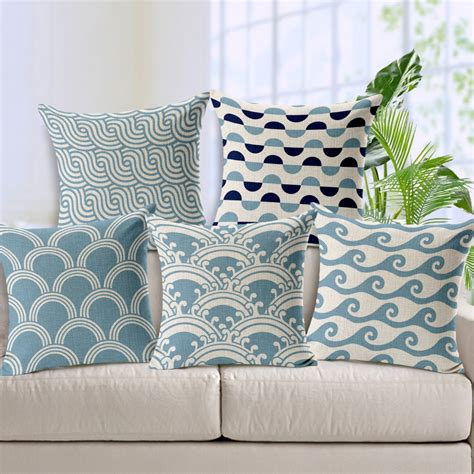 pillows throws decor free shipping light blue chevron linen cotton cushion wave