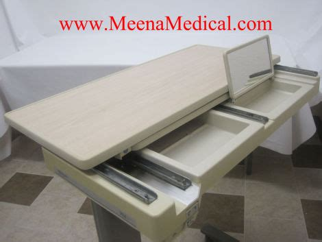 hospital bed table for sale used hill rom pm jr over bed table cabinetry furnishings