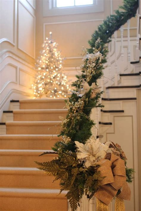 christmas garland for banister 50 stunning christmas staircase decorating ideas style