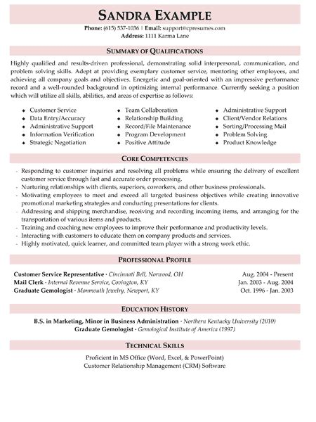Resume Summary For Customer Service by Customer Service Resume Sle Stonewall Services