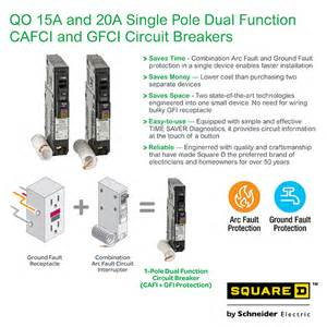 square d qo 20 amp single pole dual function cafci and gfci circuit breaker qo120dfc the