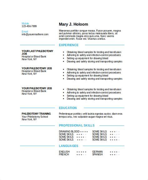 phlebotomy resume templates 6 phlebotomy resume templates pdf doc free premium