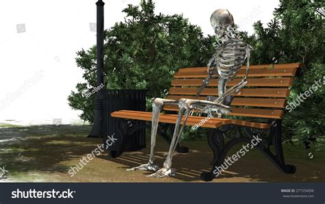 sitting in a park bench skeleton sitting on park bench under a tree stock photo 271554098 shutterstock