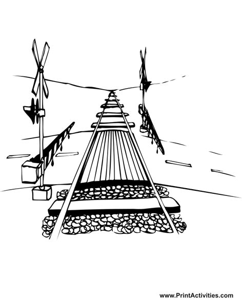 railroad coloring page railroad crossing tracks