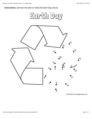 dot to dot printables earth day earth day connect the dots page featuring the recycling