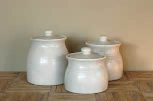 White Kitchen Canister Sets by Vintage White Ceramic Canisters Set Of 3 By Bonnbonn On Etsy