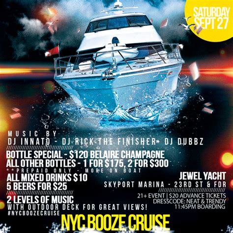 party boat booze cruise nyc nyc booze cruise boat party tickets sat sep 27 2014 at