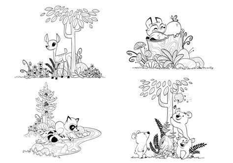 forest animals coloring pages for adults woodland forest animals coloring pages for children and adults