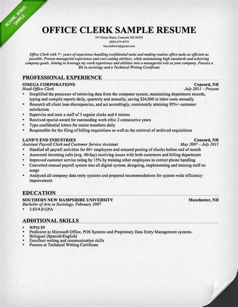 writing your own resume office clerk resume sle this resume sle