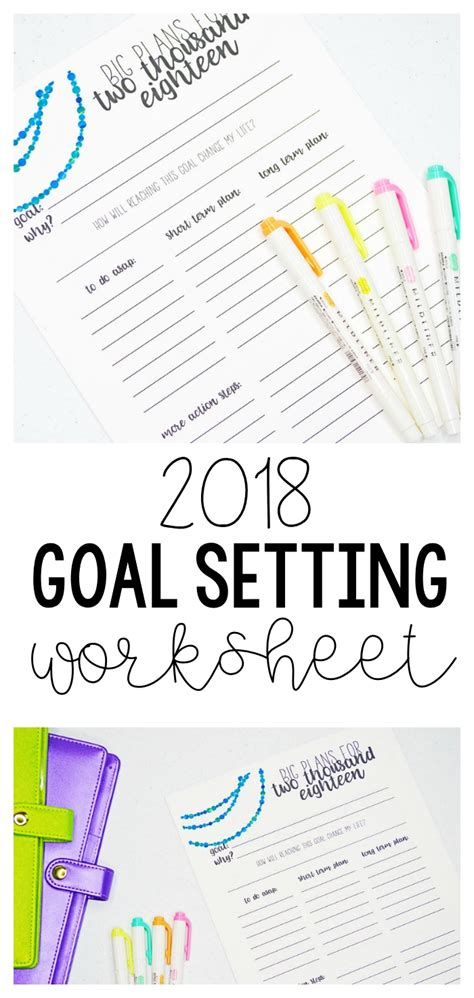 free printable goal planner 2018 2018 goal setting worksheet how to set your goals