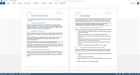 theme documentation template design document template