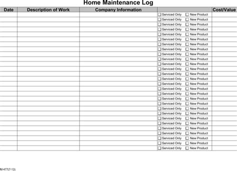 Download Home Maintenance Log Template Printable For Free Page 3 Formtemplate Property Maintenance Log Template