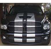 Black Dodge Ram With White Racing Stripe  Trucks