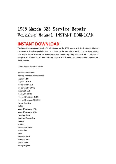 service repair manual free download 1999 mazda b series windshield wipe control 1988 mazda 323 service repair workshop manual instant download by kmjsehfn mksejfn issuu