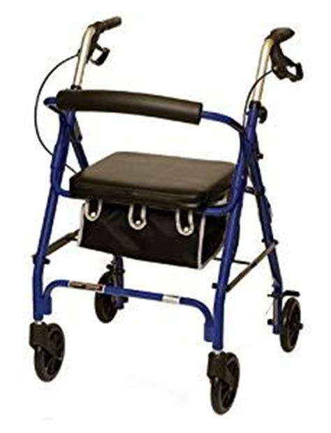 rollator walker with seat and brakes probasics 1025 lpbl 4 wheeled aluminum