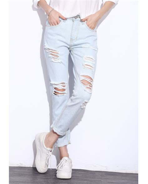 Blue Retro Denim Top 42825 linsdenim fashion vintage holes knee ripped