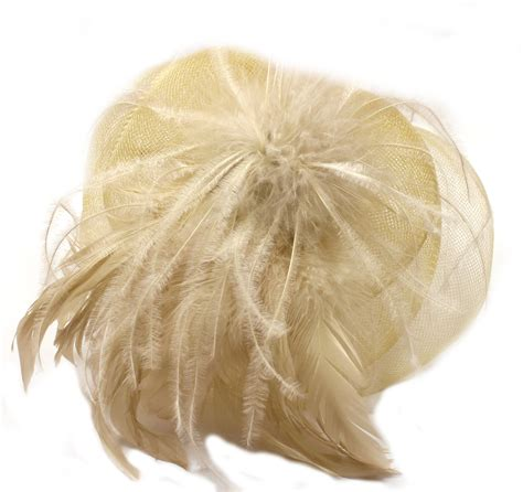 Lolitattoo Temporary Brown Feather light brown net fascinator with feather tendrils on aliceband ebay