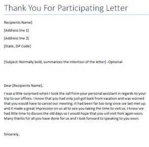thank you for participating writing professional letters
