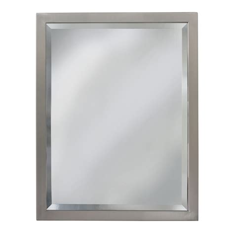 Framed Mirrors For Bathrooms Shop Allen Roth 24 In X 30 In Brush Nickel Rectangular Framed Bathroom Mirror At Lowes