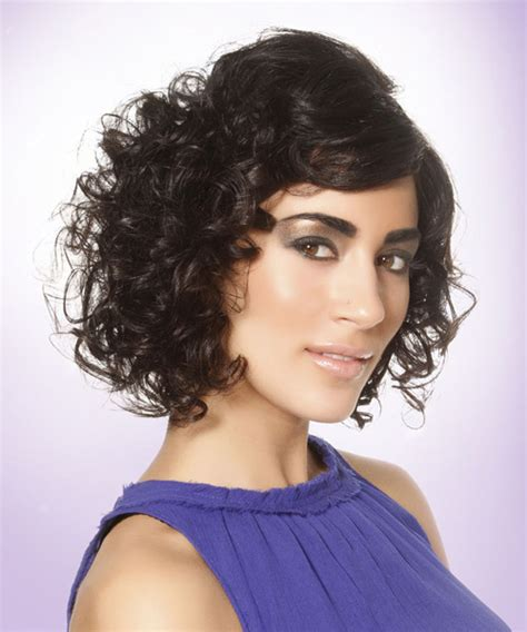 curly haircuts nj short curly formal hairstyle with side swept bangs black