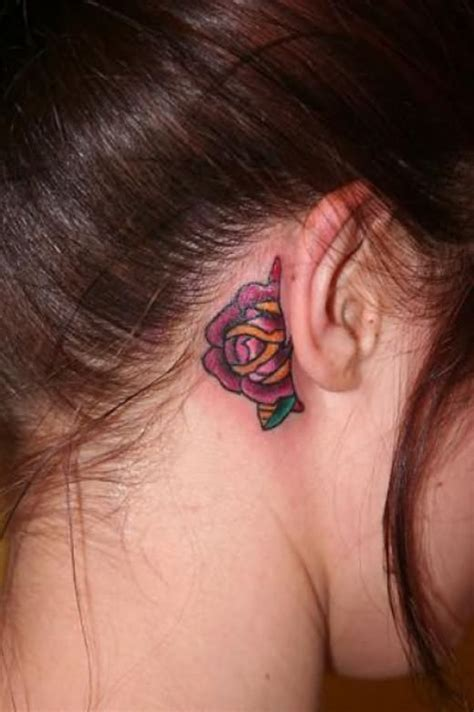 small rose tattoo behind ear ear