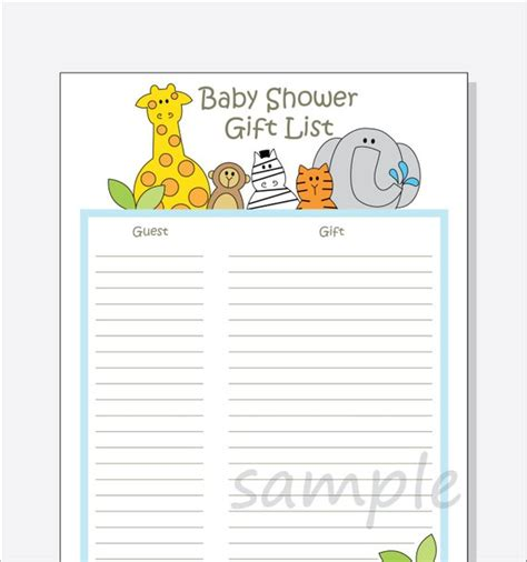 Baby Shower Guest List by Diy Baby Shower Guest Gift List Printable Jungle Animals