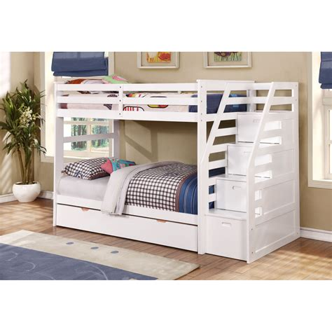 Kids Twin Over Twin Triple Bunk Bed With Trundle And Bunk Beds With Storage
