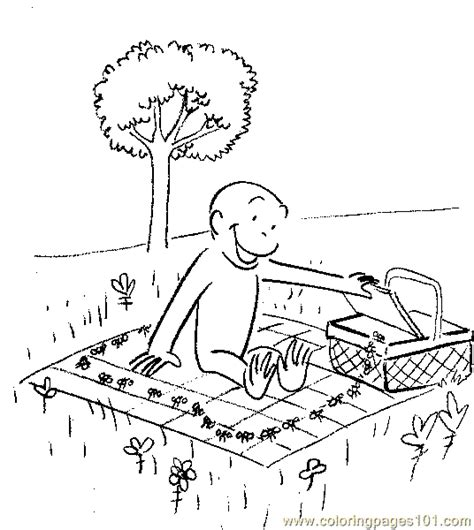 coloring pages picnic with curious george cartoons