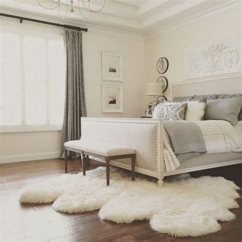 sheepskin rug bedroom elegant master bedroom with restoration hardware bed