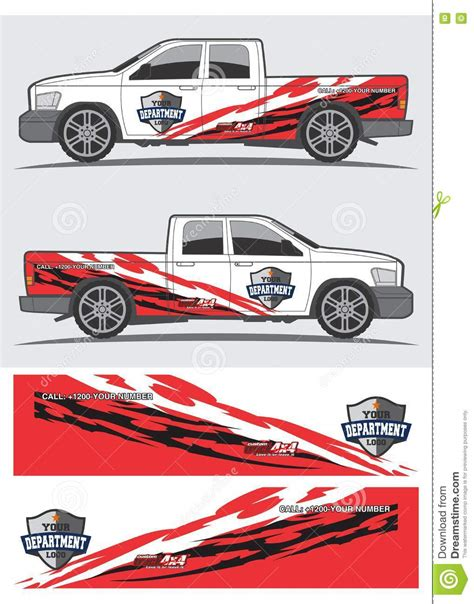Auto Sticker Vector by Truck And Vehicle Decal Graphic Design Stock Vector