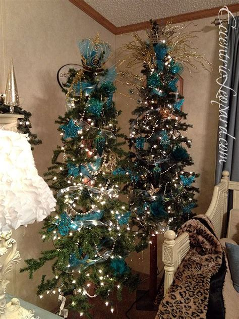 teal and gold tree eccentric leopard holiday decor