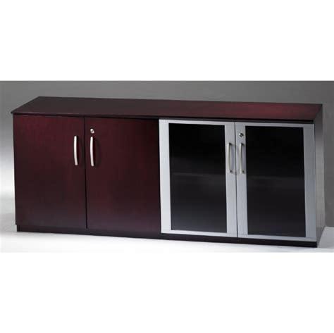 Napoli Low Wall Cabinet with Doors Wood/Glass Door Combination