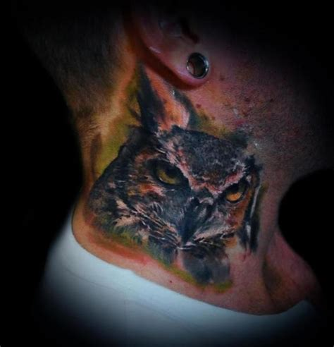 neck tattoo realistic realistic neck owl tattoo by ink ognito