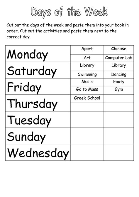 Days Of The Week Worksheet by Days Of The Week And Months Of The Year Worksheets