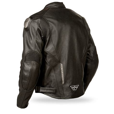 Fly Street Apex Leather Motorcycle Riding Jacket Black