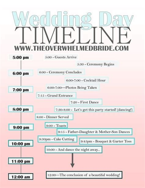 17 Best ideas about Wedding Day Timeline on Pinterest